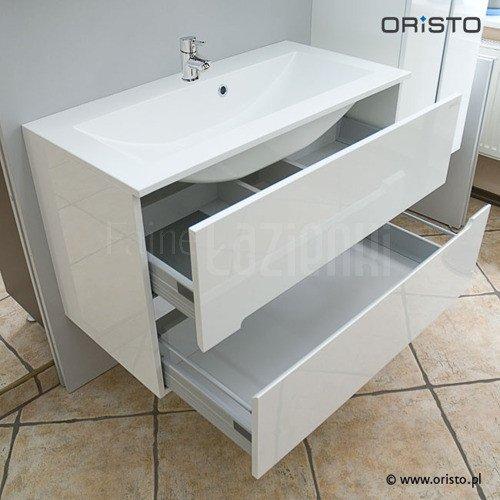 Szafka łazienkowa Oristo Silver Or33 Sd 90 1 Biały Połsyk Z Umywalką